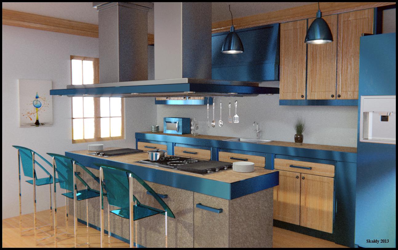 Cocina azul kitchen blue skaldy3d - Cocinas azul tierra ...